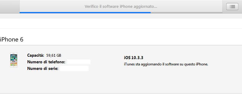 Nella parte superiore dell'interfaccia di iTunes puoi vedere la barra di avanzamento dello stato di installazione e verifica